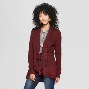 Women  039 s Long Sleeve Open Layering Tassel Cardigan - Knox Rose Burgundy  XS 0bb1b3ed121bf