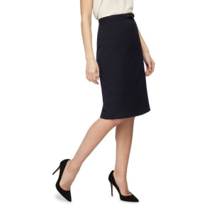 The Collection Navy Belted Suit Skirt