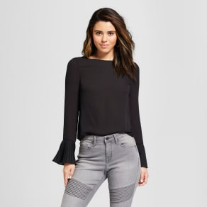 Women's Pleated Trumpet Long Sleeve Top - 3hearts (Juniors') Black S
