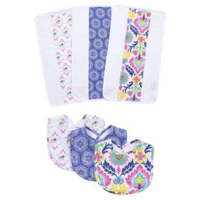 Waverly Baby by Trend Lab Santa Maria Bib and Burp Cloth Set - Pink 6pc