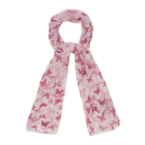Mantaray Pink Butterfly Print Scarf