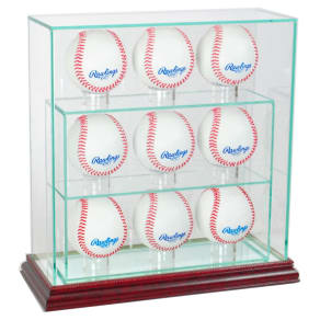 Perfect Cases 9 Upright Baseball Display Case - Cherry Finish, Clear