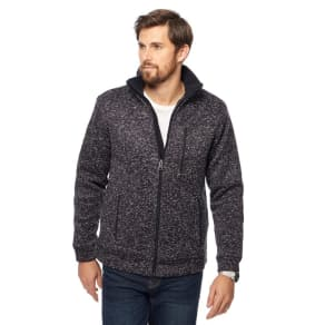 Maine New England Navy Speckled Borg Lined Zip Through Jacket