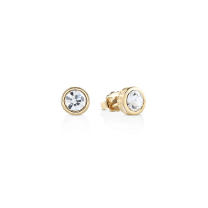 Guess Yellow Gold Plated Stud Earrings With Clear Swarovski Crystal Bezel Settings Ube61020