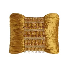 Royale Gold Silk Pillow With Beads