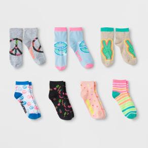 Girls' 7pk Ankle Socks - Cat & Jack S, Multicolored
