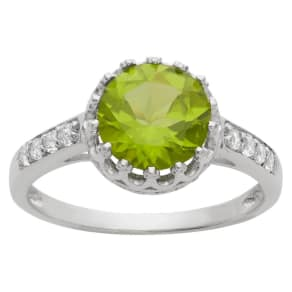 2 Tcw Tiara Round-Cut Peridot Crown Ring in Sterling Silver - (8)