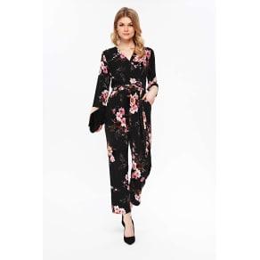95a3f587d15a Petite Black Floral Print Jumpsuit. Wallis
