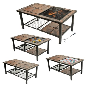 Leisurelife 25 4-In-1 Rectangular Coffee Table, Woodburning Fire Pit and Grill With Ceramic Tile Top, Brown
