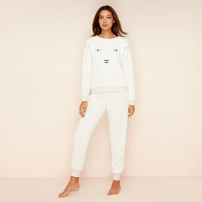 Lounge & Sleep Cream Fleece 'Counting Sheep' Pyjama Set