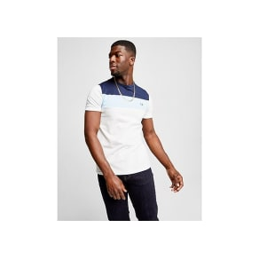 Fred Perry Colourblock T-Shirt - White/Navy/Blue - Mens
