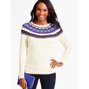 Talbots Women's Fringed Snowflake Fair Isle Sweater