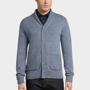 Joseph Abboud Denim Blue Shawl-Collar Cardigan