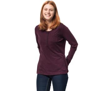 Jack Wolfskin Long Sleeved Shirt Women Winter Travel Henley Women Xl Violet