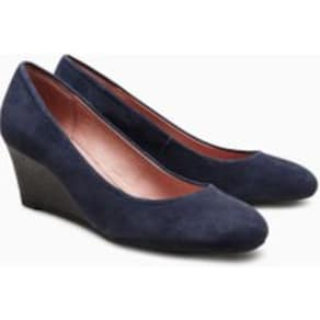 Womens Next Navy Leather Wedges -  Blue