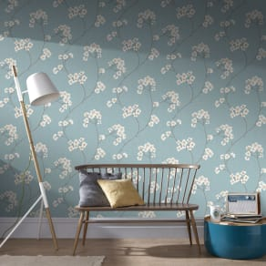 Graham & Brown Blue  Cream Radiance Wallpaper, Brown