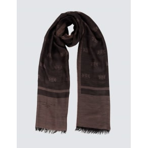 Men's Taupe Scarf With Hawes and Curtis Crest - 100% Wool
