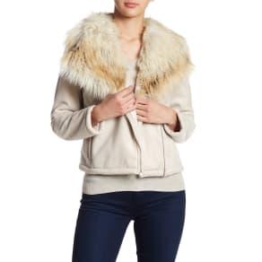 Claver Faux Fur Trim & Faux Shearling Lined Jacket