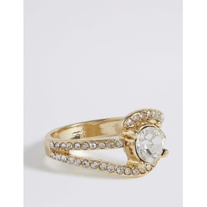 M&S Collection Gold Plated Diamante Curved Pave Ring