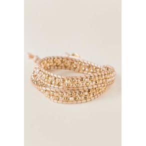 Paola Bead Wrap Bracelet in Champagne - Crisp Champagne