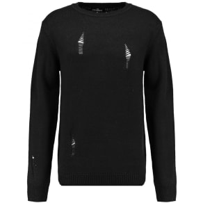 Twisted Soul Mens Black Rip Crew Knit