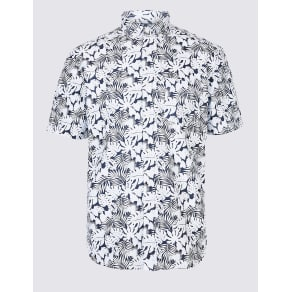 M&S Collection Pure Cotton Leaf Printed Oxford Shirt