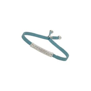 Turquoise Fabric Cord Rhinestone Bracelet