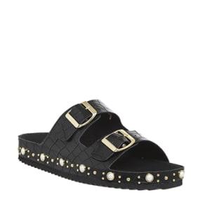 Office Superstar Studded Sandals Black Croc Pearl Gold Hardware