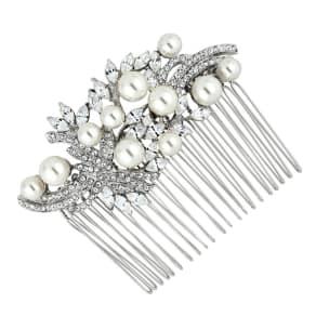 Jon Richard Charlotte Navette Stone and Crystal Swirl Multi Pearl Comb