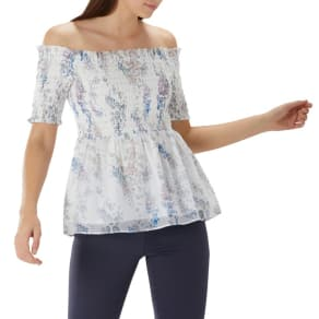 Coast Ivory Floral Print 'Priya' Shirred Bardot Top