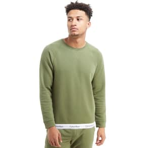 Calvin Klein Basic Crew Tape Sweatshirt - Olive - Mens