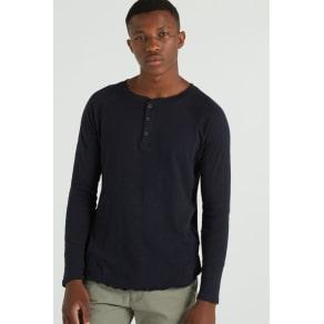 Cotton on Men - Henley Decon Ls - Ink Navy Slub