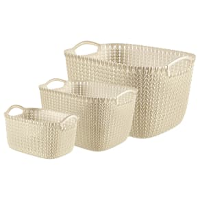 Curver Knit Set of 3 Storage Baskets - Cream