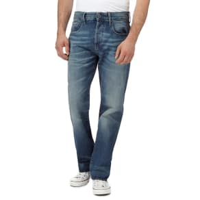 G-Star Blue Vintage Wash '3301' Straight Leg Jeans