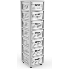 Curver Infinity 7 Drawer Storage Tower - Grey & White