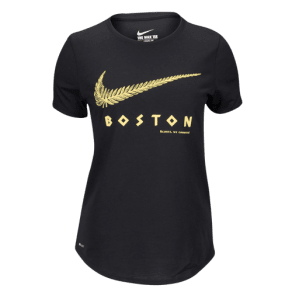 Womens Nike Dri-Fit Dri-Blend Graphic Running T-Shirt - Black/Reflective Silver