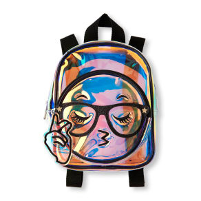 Girls  Clear Iridescent Emoji Mini Backpack - Multi