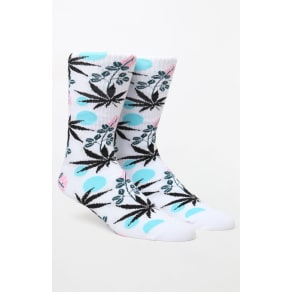 Huf Mens Cherry Blossom Plantlife Crew Socks - White