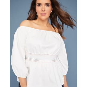 Lane Bryant Women's Smocked-Waist Off-The-Shoulder Top 18/20 White