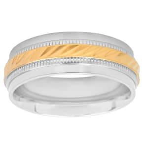 C&c Jewelry Mfg Stainless Steel With Gold-Tone Ip Wave Center 8mm Band, Size: 11.5, Two Tone