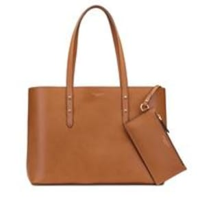 Regent Tote in Smooth Natural Tan & Cream Suede