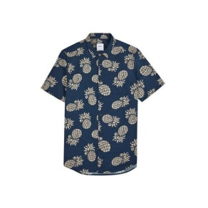 Mens Navy Short Sleeve Large Pineapple Print Shirt, Blue
