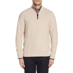 Men's Tailorbyrd Sikes Tipped Quarter Zip Sweater, Size Small - Beige