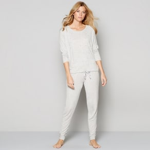 Nine by Savannah Miller Grey Star Studded Long Sleeve Pyjama Set