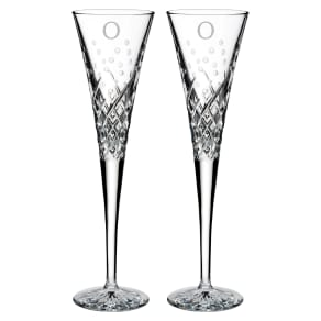 Waterford Happy Celebrations Set Of 2 Monogram Lead Crystal Champagne Flutes, Size One Size - White