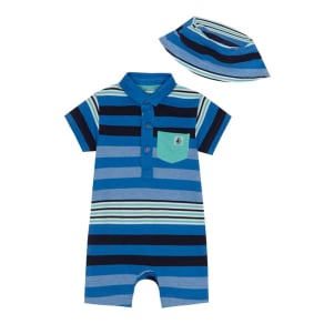 J by Jasper Conran - 'Baby Boys' Blue Striped Polo Romper Suit and Hat Set
