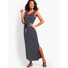 Talbots: Embroidered Tassel Belt Stripe Jersey Maxi Dress