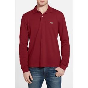 Men's Lacoste Classic Fit Long Sleeve Pique Polo, Size 6(xl) - Red