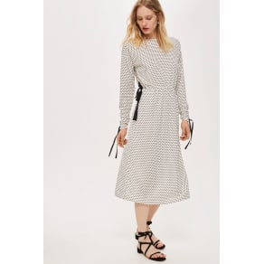 Womens Ruched Sleeve Polka Dot Dress by Boutique