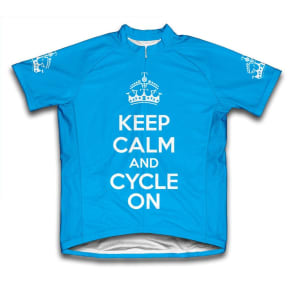 Scudo Keep Calm and Cycle on Microfiber Short-Sleeved Cycling Jersey, Blue, 3xl